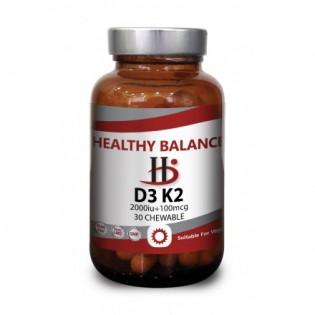Healthy Balance D3 + Κ2 2000iu 30 μασώμενες ταμπλέτες