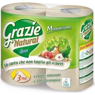 Grazie Natural Χαρτί Υγείας 4 Ρολά 3 φύλλα