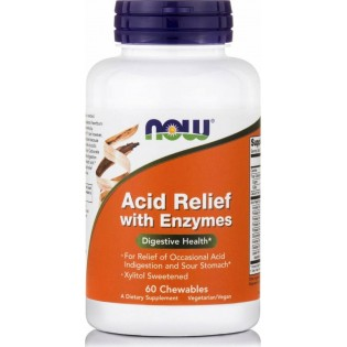 Now Foods Acid Relief with Enzymes 60 μασώμενες ταμπλέτες