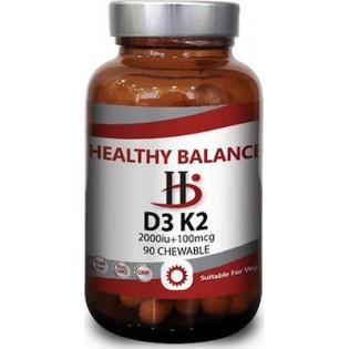 Healthy Balance D3 + Κ2 2000iu 90 μασώμενες ταμπλέτες