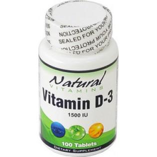 Natural Vitamins D-3 1500IU 100 tabs
